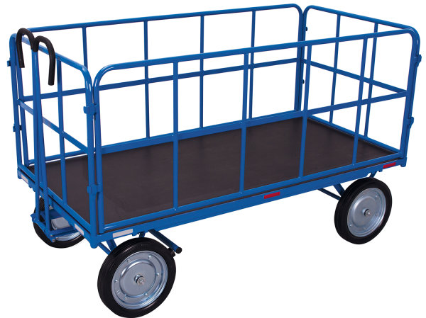 Handpritschenwagen mit 4 Rohrgitterwänden, 1000 kg Traglast, 1140 x 740 mm, blau