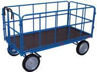 Handpritschenwagen mit 4 Rohrgitterwänden, 1000 kg Traglast, 1540 x 740 mm, blau