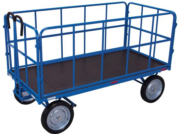 Handpritschenwagen mit 4 Rohrgitterwänden, 1250 kg Traglast, 1940 x 940 mm, blau