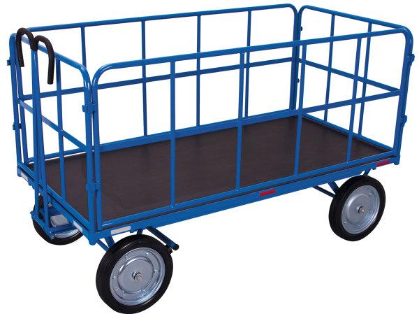 Handpritschenwagen mit 4 Rohrgitterwänden, 1000 kg Traglast, 1940 x 940 mm, blau