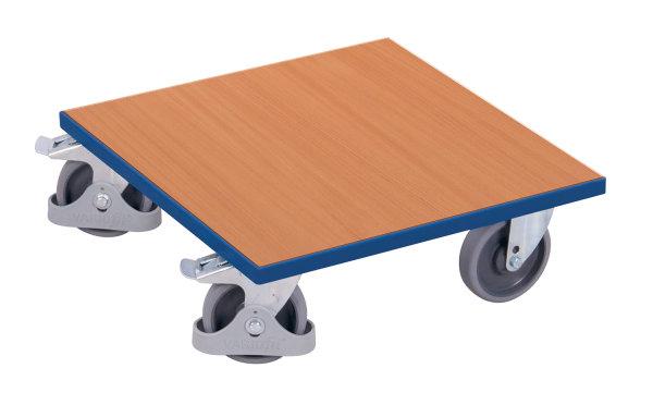 Kistenroller mit Boden, 400 kg Traglast, 500 x 500 mm, blau