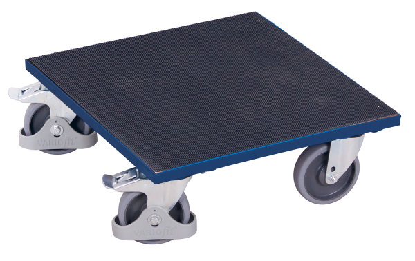 Kistenroller mit aufgeklebtem Riefengummi, 400 kg Traglast, 500 x 500 mm, blau