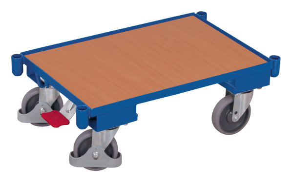 Euro-System-Roller mit Boden und Eckhülsen, 250 kg Traglast, 605 x 410 mm, blau