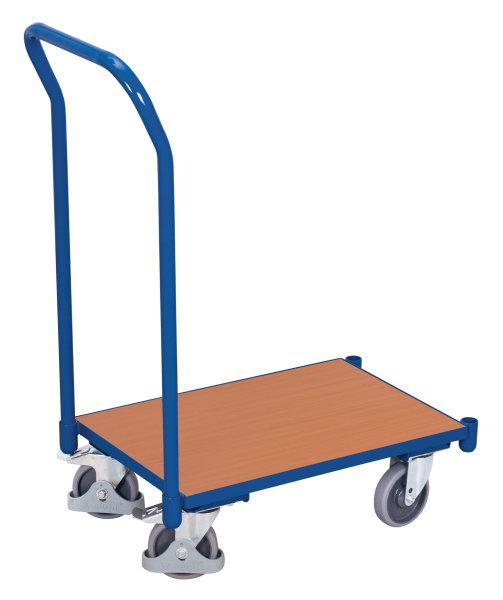 Euro-System-Roller mit Boden und Schiebebügel, 250 kg Traglast, 610 x 415 mm, blau