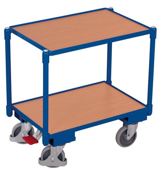 Euro-System-Roller mit 2 Ladeflächen (10 mm Rand), 250 kg Traglast, 605 x 410 mm, blau