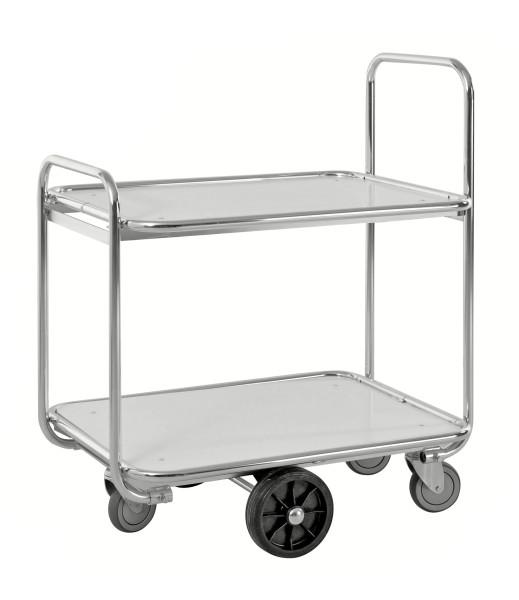 Kommissionierwagen mit 2 Böden, 2 Ebenen, 850 x 630 mm, 300 kg Tragfähigkeit, Verzinkt / Weiß