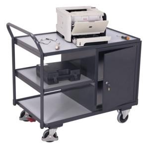 ESD Werkstattwagen mit 3 Ladeflächen, 250 kg Traglast, 985 x 595 mm, grau