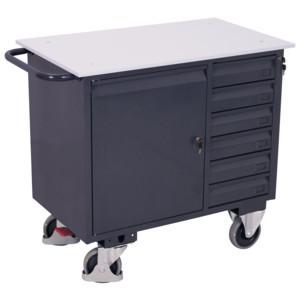 ESD Werkstattwagen mit 6 Schubladen, 400 kg Traglast, 1000 x 600 mm, grau