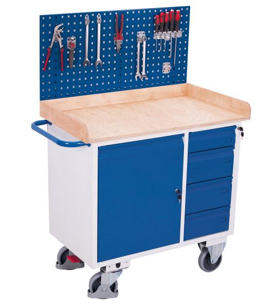 Werkzeugwand für Werkstattwagen, als Lochplatte aus Stahlblech 1,25 mm, Maße: 1.000 x 588 mm (B/H)