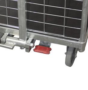 Zentrale Fußbremse EasySTOP, für Räder mit Ø 125 mm, (statt 2 thermoplastischer Bremsrollen Ø 125mm, grau, spurlos)