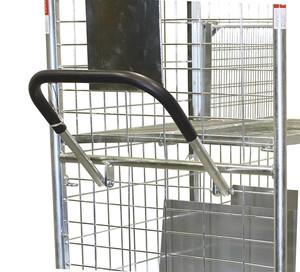 Schiebe-/Ziebügel für Kommissionierwagen, Schweißkonstruktion aus Stahl; mit weichem schwarzen Griffüberzug; Tiefe des Ziehbügels: 370 mm; zum Verschrauben; Ziehbügel galvanisch verzinkt., EAN-Nr: 4035694038752