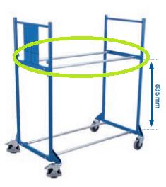 Verbindungsrohr verzinkt für Reifenregal/-wagen, Gesamtlänge: 940 mm,