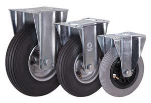 Bockrolle mit Luftreifen, 150  x 30 mm, grau, Luftbereifung 150 x 30 mm - grau - Rille - 2PR, Platte: 104 x 80 mm