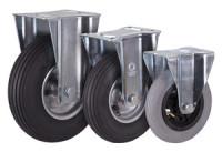 Bockrolle mit Luftreifen, 230 x 65 mm, schwarz, Bockrolle mit Stahl-Felge, alusilber, Rollenlager, Luftbereif., 230x65mm-schwarz-Rille-2PR