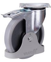 Bremsrolle, 200 x 40 mm, grau, (thermoplastisch), mit thermoplatischer Bandage, auf Polyamidfelge