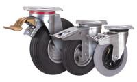 Bremsrolle mit Luftreifen, 150 x 30 mm, grau, Luftbereifung 150 x 30 mm - grau - Rille - 2PR, Platte: 104 x 80 mm