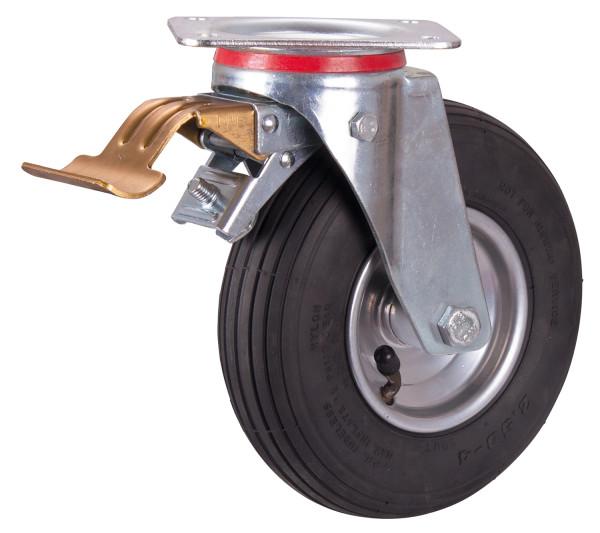 Bremsrolle mit Luftreifen, 230 x 65 mm, schwarz, Bremsrolle mit Stahl-Felge, alusilber, Rollenlager, Luftbereif., 230x65mm-schwarz-Rille-2PR