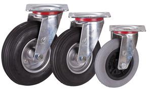 Lenkrolle mit Luftreifen, 150 x 30 mm, grau, Luftbereifung 150 x 30 mm - grau - Rille - 2PR, Platte: 104 x 80 mm