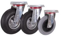 Lenkrolle mit Luftreifen, 230 x 65 mm, schwarz, Lenkrolle mit Stahl-Felge, alusilber, Rollenlager, Luftbereif., 230x65mm-schwarz-Rille-2PR