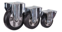 Bockrolle Elastikvollgummi, 200 x 50 mm, schwarz, BH: 235  GW: 62  AL: 60, GR-PL: 110 x 4 x 135