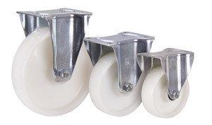 Bockrolle Polyamid, 150 x 40 mm, weiß, im Nachlauf - 154 110, Traglast Rolle und Gehäuse: 350 kg