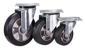 Lenkrolle Elastikvollgummi, 160 x 50 mm, schwarz,, Aluminium-Druckgußfelge, Kugellager,, DE L 1/160/50K