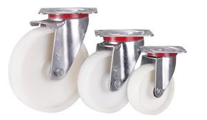 Lenkrolle Polyamid, 200 x 50 mm, weiß, KN L 4/200/50 R , BH: 235  GW: 62  AL: 54