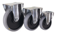Bockrolle, 200 x 40 mm, grau, elektrisch leitfähig, Polypropylen - Rollenkörper mit elastischem antistatischem Performa Gummireifen, auf Polyamidfelge