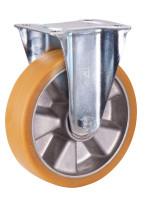 Bockrolle Polyurethan, 200 x 50 mm, einteilige Aluminiumfelge mit beidseitig, eingespreßten Rillenlagern und fest aufvul-
