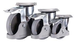 Bremsrolle,125 x 32 mm, grau, elektrisch leitfähig, Polypropylen - Rollenkörper mit elastischem antistatischem Performa Gummireifen, auf Polyamidfelge