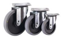 Lenkrolle, 125 x 32 mm, grau, elektrisch leitfähig, Polypropylen - Rollenkörper mit elastischem antistatischem Performa Gummireifen, auf Polyamidfelge