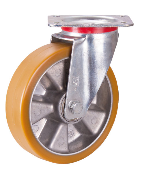 Lenkrolle Polyurethan, 200 x 50 mm, PE L  8/200/50 K - W, BH: 245   GW:    AL: