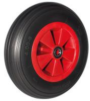 Pannensicheres Rad 390 x 90 mm, schwarz, Rillenprofil, schwarz, Bohrung 25 mm, Nabenlänge 75 mm