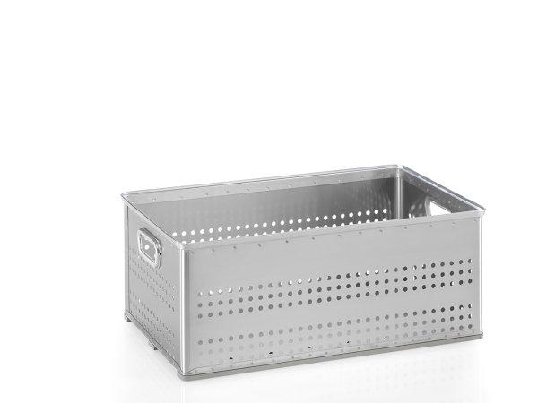 Stabelkorb gelocht, G®-STACK A 113 / 2 , 703x436x270 mm, Tragkraft 50 kg, aus Aluminium