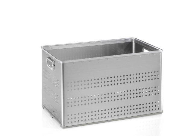 Stabelkorb gelocht, G®-STACK A 113 / 3  , 703x436x400 mm, Tragkraft 50 kg, aus Aluminium
