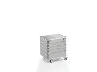 Transportwagen mit Deckel und geschlossenen Wänden, G®-TRANS D 3008 / 235 B, 700x550x580 mm, Tragkraft 200 kg, aus Aluminium