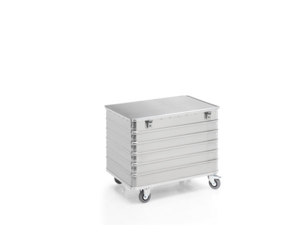Transportwagen mit Deckel und geschlossenen Wänden, G®-TRANS D 3008 / 415 B, 1000x640x650 mm, Tragkraft 250 kg, aus Aluminium