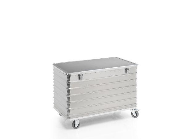 Transportwagen mit Deckel und geschlossenen Wänden, G®-TRANS D 3008 / 570 , 1250x650x685 mm, Tragkraft 250 kg, aus Aluminium