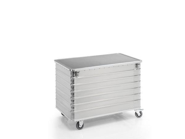 Transportwagen mit Deckel und geschlossenen Wänden, G®-TRANS D 3008 / 656 , 1250x700x750 mm, Tragkraft 250 kg, aus Aluminium