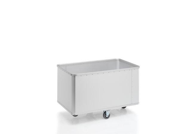 Transportwagen eloxiert mit geschlossenen Wänden, G®-TRANS D 1008 / 525 E, 1250x700x600 mm, Tragkraft 150 kg, aus Aluminium, eloxiert
