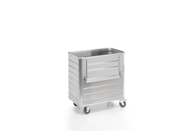 Transportwagen mit abklappbarer Längswand, G®-TRANS D 3508 / 360, 900x500x800 mm, Tragkraft 250 kg, aus Aluminium