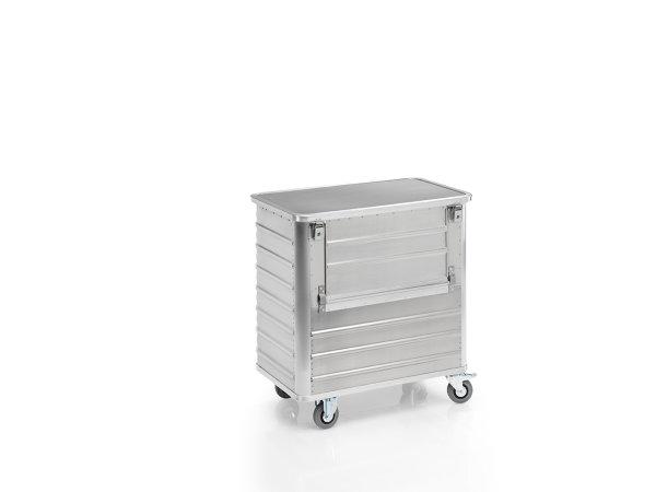 Transportwagen mit Deckel und abklappbarer Längswand, G®-TRANS D 3508 / 360 , 900x500x800 mm, Tragkraft 250 kg, aus Aluminium