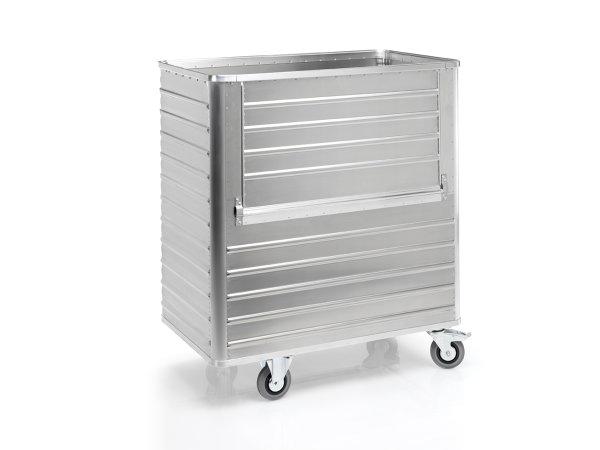 Transportwagen mit abklappbarer Längswand, G®-TRANS D 3508 / 1050, 1250x700x1200 mm, Tragkraft 300 kg, aus Aluminium