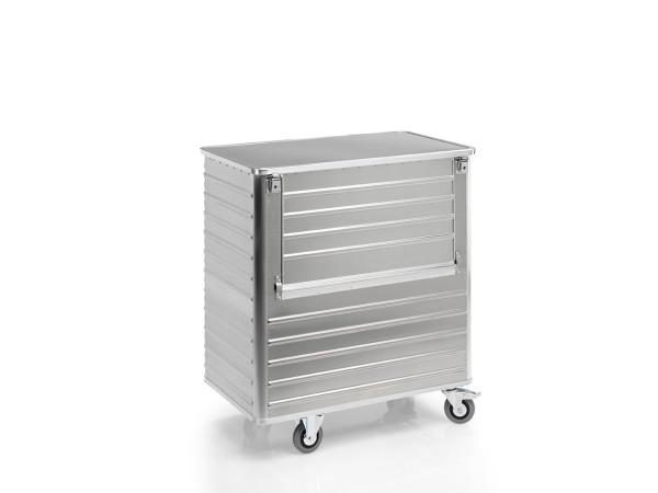 Transportwagen mit Deckel und abklappbarer Längswand, G®-TRANS D 3508 / 1050 , 1250x700x1200 mm, Tragkraft 300 kg, aus Aluminium