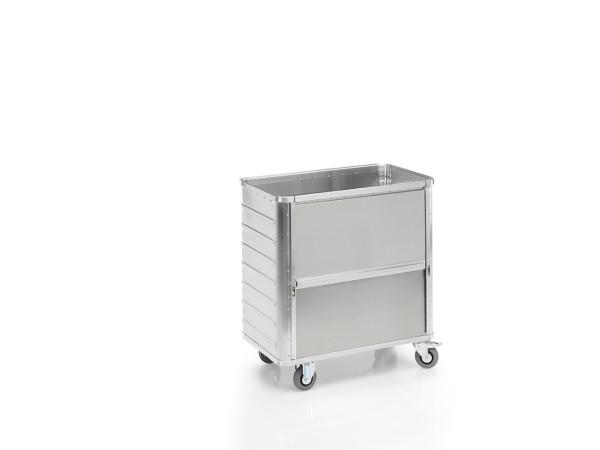 Transportwagen mit Deckel und absenkbarer Längswand, G®-TRANS D 3708 / 360 , 900x495x800 mm, Tragkraft 250 kg, aus Aluminium