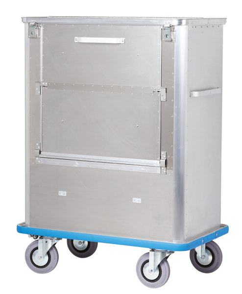 Transportwagen mit geteiltem Deckel, PVC-Puffer und abklappbarer 3 geteilter Längswand, G®-TRANS D 1539 / 690 SCU , 1000x575x1200 mm, Tragkraft 300 kg, aus Aluminium