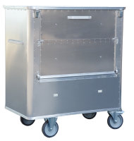 Transportwagen mit geteiltem Deckel und abklappbarer 3 geteilter Längswand, G®-TRANS D 1539 / 1050 SCU , 1250x700x1200 mm, Tragkraft 300 kg, aus Aluminium