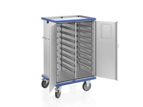 Modul-Schrankwagen eloxiert, G®-CUP ISO E 2732 ID , 900x635x1167 mm, Tragkraft 200 kg, aus Aluminium, eloxiert