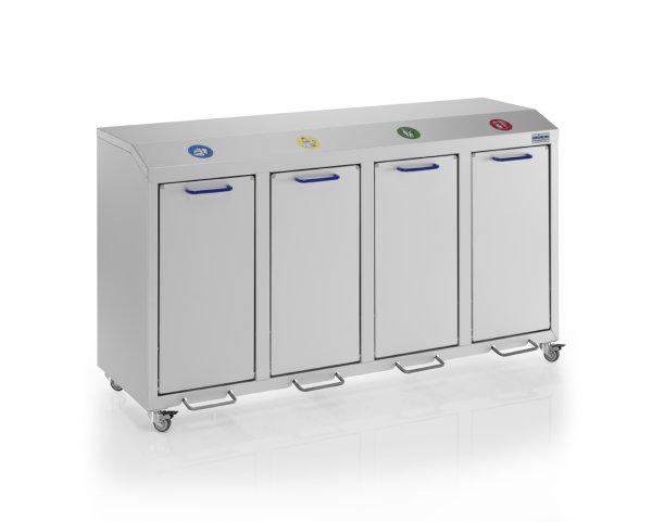 Wertstoffsammler eloxiert - 4 fach, G®-COLLECT X 2001/4 , 1420x490x800 mm, aus Aluminium, eloxiert
