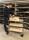 Verchromter Servierwagen, 3 Ebenen, 750 x 430 mm, 150 kg Tragfähigkeit, Buchenholz
